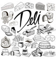 set sketches hand-drawing cheese products vector image
