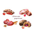 set watercolor gingerbread on white vector image vector image