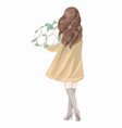 spring girl in a coat hand drawn vector image
