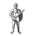vintage monochrome brave knight vector image vector image