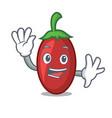 waving goji berries character cartoon vector image