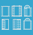 white wooden plastic realistic windows set vector image