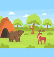 wild animals on beautiful natural summer landscape vector image vector image