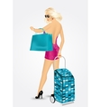 woman carrying a trolley suitcase vector image vector image