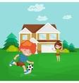 Happy child portrait in sportswear joggling ball vector image