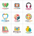 Set of Coloful Logo Templates Lab Pin Photographer vector image
