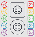 60 second stopwatch icon sign Symbols on the Round vector image vector image