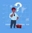 african american business man with question mark vector image vector image