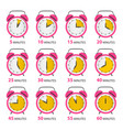 analog alarm clock symbols set with five to sixty vector image vector image