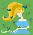beautiful girl with butterflies on her head vector image vector image