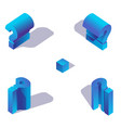 blue isometric question mark with shadow problem vector image