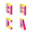 bright isometric font with transparent parts vector image vector image