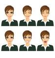 business woman with different facial expressions vector image
