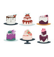 cakes and cupcakes isolated icons confectionery vector image