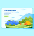 camping banner template with bonfire tent vector image