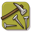 cartoon hammer with straight nails icon vector image