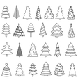 Christmas tree icon set vector image vector image