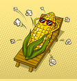 corn tans on beach pop art vector image vector image