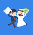 cute arab businessman carry cash hug business man vector image