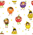 cute kids in fruits costumes seamless pattern vector image vector image