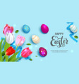 easter banner and flowers vector image