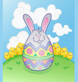 easter bunny egg cartoon character vector image