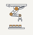 Factory robotic arm thin line icon vector image vector image