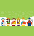 farmers characters with icons background vector image vector image