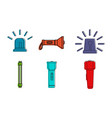 flashlight icon set color outline style vector image