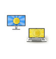 flat laptop monitor with bitcoin set vector image