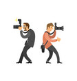 freelancer photographer paparazzi digital cameras vector image vector image
