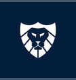 geometric lion shield logo vector image