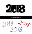 happy new year 2018 text black design numbers vector image vector image