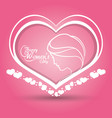 happy womens day heart girl pink background vector image vector image