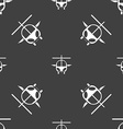helicopter icon sign Seamless pattern on a gray vector image