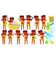 indian girl kid poses set hindu child vector image