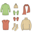Knitted clothes and accessories vector image vector image
