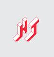 kt - logo or 2-letter code isometric 3d font vector image vector image