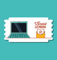 laptop computer with social media icons vector image vector image