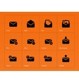 Mail icons on orange background vector image vector image