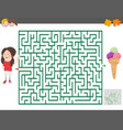 maze game with cartoon girl and ice cream vector image vector image