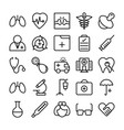 medical health and hospital line icons 1 vector image vector image