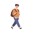 modern schoolboy with backpack go to elementary vector image vector image