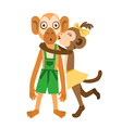 Monkey girl kiss vector image vector image