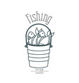 monochrome sketch silhouette bucket full fish and vector image vector image