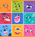 monsters faces cute cartoon characters vector image vector image