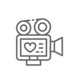 movie camera with film strip video of love story vector image
