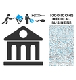 museum building icon with 1000 medical business vector image vector image