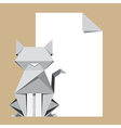 Origami cat with paper note vector image