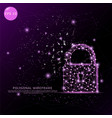 padlock digitally drawn futuristic low poly wire vector image vector image